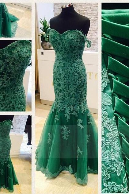 Green Prom Gown,Sexy Prom Dresses,Lace Evening Gowns,Mermaid Party Dresses,Tulle Evening Gowns,Modest Formal Dress,Champagne Evening Gown For Teens