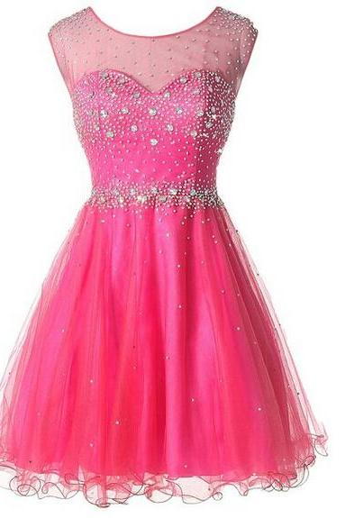 Homecoming Dress,Pink Homecoming Dress,Cute Homecoming Dress,2016Fashion Homecoming Dress,Short Prom Dress,Pink Homecoming Gowns,Beaded Sweet 16 Dress,Short Evening Gowns