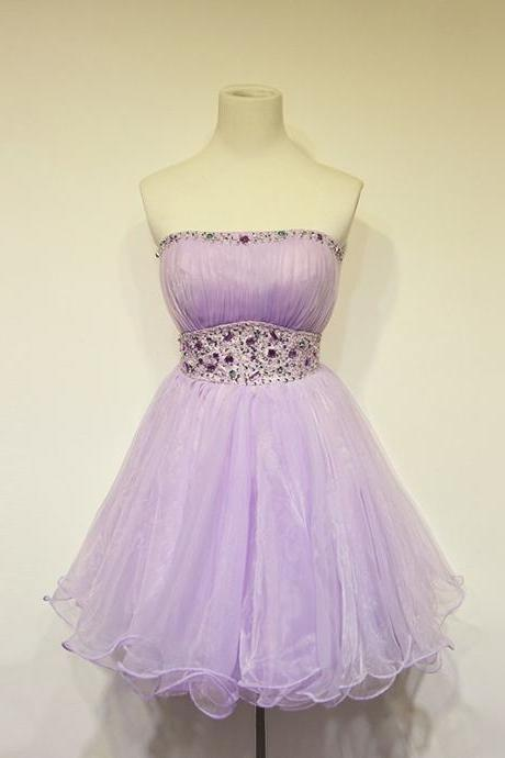 Homecoming Dress,Lilac Prom Dresses,Tulle Homecoming Gowns,Party Dress,Short Prom Gown,Lilac Cocktail Dress,Beading Homecoming Dresses 2016 For Teens
