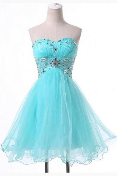 Blue Homecoming Dress,Tulle Homecoming Dresses,Sparkly Homecoming Gowns,2017 Fashion Prom Gown,Sweetheart Sweet 16 Dress,Crystals Homecoming Dresses,Tulle Cocktail Dress,Parties Gowns,Evening Gowns