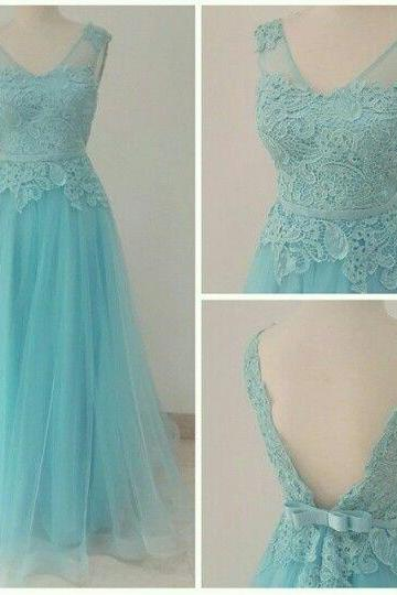 Light Blue Prom Dresses,Prom Dress,Modest Prom Gown, Prom Gown,Princess Evening Dress,Tulle Evening Gowns,Lace Party Gowns
