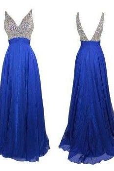 Backless Prom Gown,Open Back Prom Dresses,Royal Blue Evening Gowns,Beaded Party Dresses,Evening Gowns,Backless Formal Dress,Straps Prom Dresses For Teens