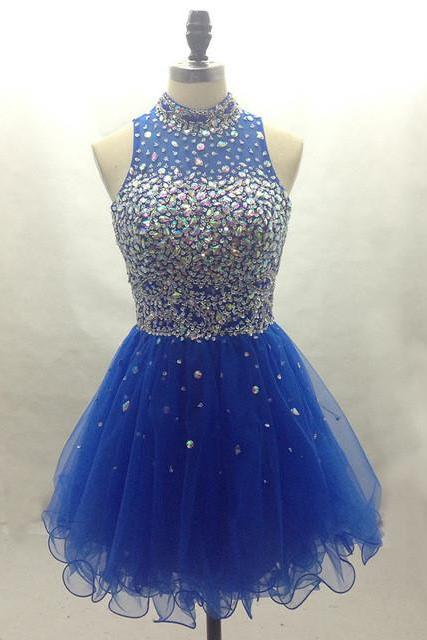 Royal Blue Homecoming Dress,Sparkle Homecoming Dresses,Beautiful Homecoming Gowns,Fashion Prom Gowns,Beading Sweet 16 Dress,Hign Neckline Homecoming Dresses,Parties Gowns