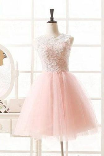Pink Homecoming Dress,Short Tulle Prom Dresses,Homecoming Gowns,Homecoming Dresses 2017,Winter Formal Dresses,Graduation Dresses,Sweet 16 Gown