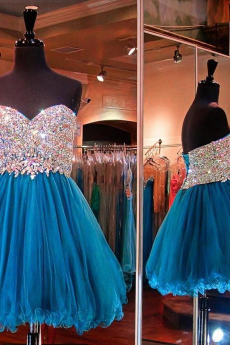 Blue Homecoming Dress,Beading Homecoming Dress,Tulle Homecoming Dress,Cute Short Prom Dress,Party Dress,Sweet 16 Dresses