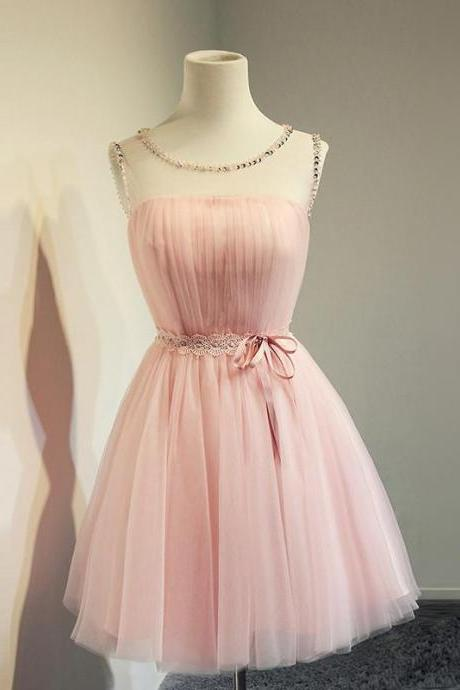 Blush Pink Homecoming Dress,Short Tulle Prom Dresses,Homecoming Gowns,Homecoming Dresses 2015,Winter Formal Dresses,Graduation Dresses,Sweet 16 Gown