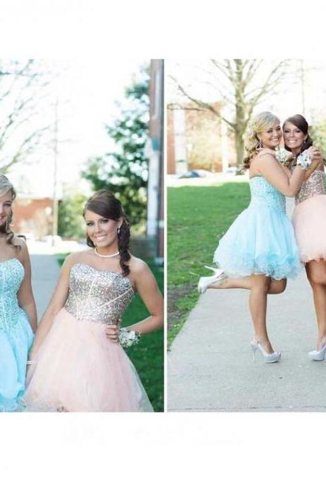 Blue Homecoming Dress,Tulle Homecoming Dresses,Sparkly Homecoming Gowns,Prom Gown,Sweetheart Sweet 16 Dress,Crystals Homecoming Dresses,Tulle Cocktail Dress,Parties Gowns,Evening Gowns