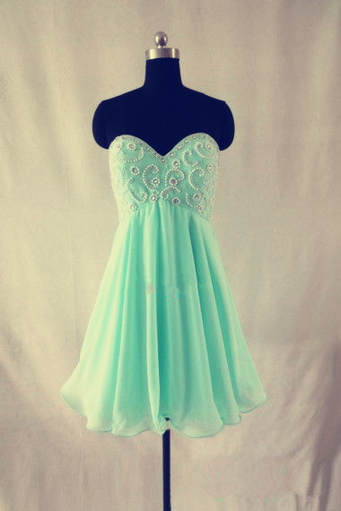 Mint Green Homecoming Dress,Chiffon Homecoming Dresses,Straps Homecoming Gowns,Short Prom Dress,Beading Prom Dresses,Sweet 16 Dress,Evening Dresses For Teens