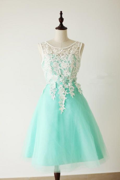 Lace Homecoming Dress,Lace Prom Dress,Cute Homecoming Dress,Mint Green Homecoming Dresses,Short Prom Dress,Simple Homecoming Gowns,Tulle Sweet 16 Dress