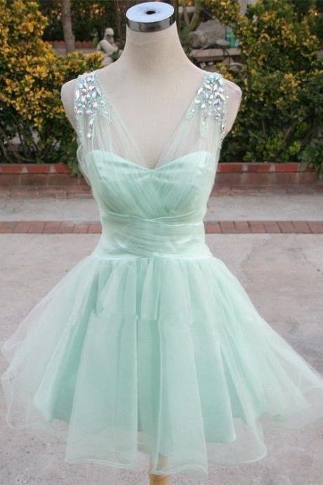 Mint Green Homecoming Dress,Sparkle Homecoming Dresses,2016 Style Homecoming Gowns,Fashion Prom Gowns,Classy Sweet 16 Dress,Homecoming Dresses,Tulle Cocktail Dress,Evening Gowns