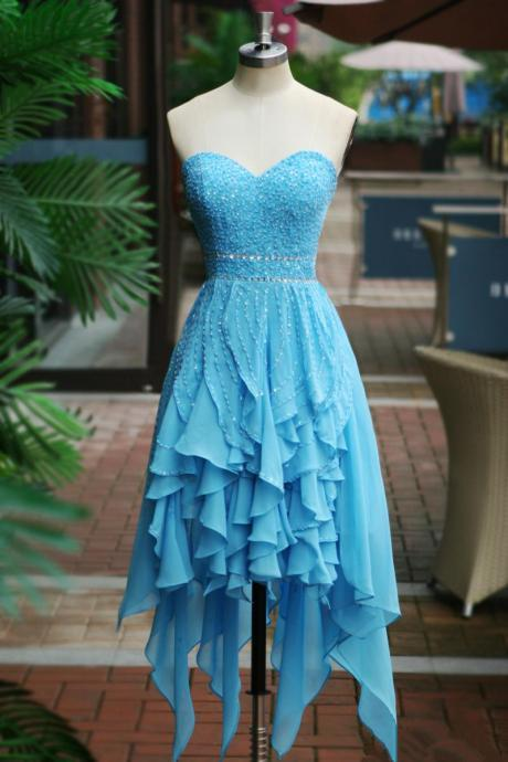 Blue Homecoming Dress,High Low Homecoming Dresses,Chiffon Homecoming Gowns,Party Dress,High Low Prom Gown,Cocktails Dress,Homecoming Dresses