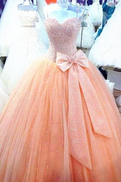Tulle Prom Dresses,Pink Prom Dress,Modest Prom Gown,Prom Gowns,Beading Evening Dress,Princess Evening Gowns,Sparkly Party Gowns