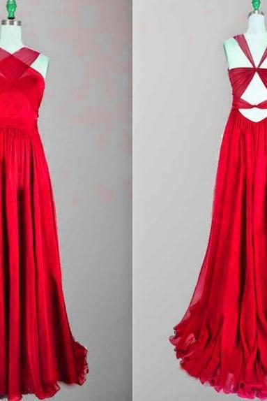 Backless Prom Gown, Prom Dresses,Red Evening Gowns,Simple Party Dresses,2016 Evening Gowns,Backless Formal Dress For Teens