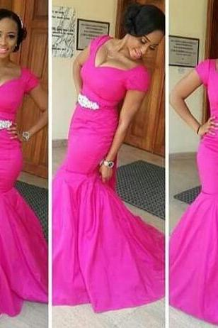 Prom Gown,Pink Prom Dresses,Simple Evening Gowns,Mermaid Formal Dresses,Pink Prom Dresses 2016,Evening Gowns,Prom Gown