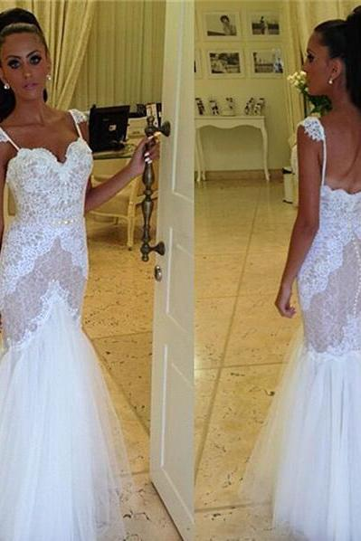 Wedding Dresses,2016 Wedding Gown,Lace Wedding Gowns,Ball Gown Bridal Dress,Fitted Wedding Dress,Corset Brides Dress,Vintage Wedding Gowns,Straps Wedding Dress