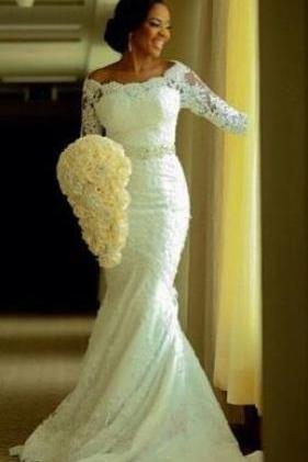 White Wedding Dresses,Long Sleeves Wedding Gown,Lace Wedding Gowns,Mermaid Bridal Dress,Princess Wedding Dress,Beautiful Brides Dress