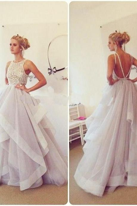 Gray Prom Dresses,Backless Prom Dress,beaded Prom Dress,Gray Prom Dresses,Formal Gown,Ball Gown Evening Gowns,Modest Party Dress,Prom Gown For Teens