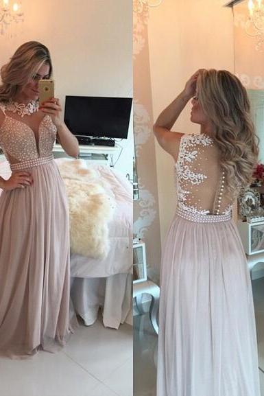 chiffon Prom Gown,Pretty Off Shoulder Chiffon pink Prom Dresses With Lace, Evening Gowns, Formal Dresses, pink Prom Dresses