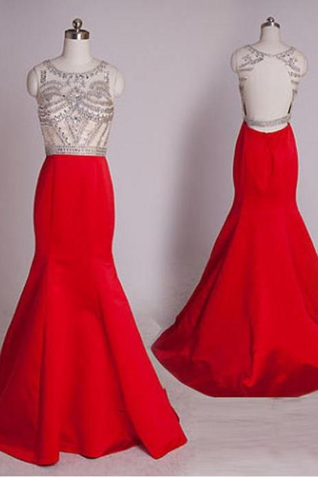 Backless Prom Dresses,Red Prom Dress,Backless Prom Gown,Open Back Prom Dresses,Beaded Evening Gowns,Mermaid Evening Gown For Teens