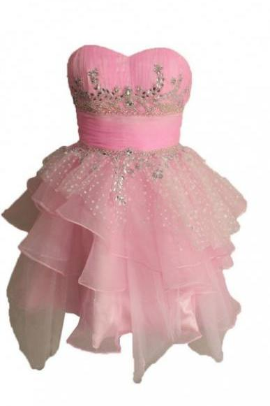 Cute A-line Strapless Short Tulle Pink Homecoming Dress