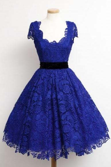 Vintage Style Cap Sleeves Short Royal Blue Homecoming Dress with Black Sash