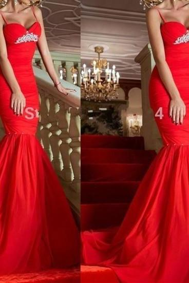 Spaghetti Straps Sexy Mermaid Red Prom Dresses Formal Party Gowns Women Special Occasion Gowns