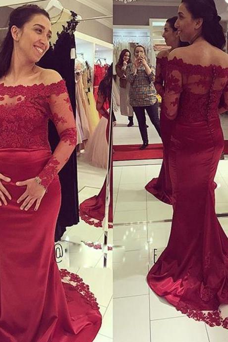 Charming Evening Formal Gown,Long Sleeve Evening Dress,Burgundy Prom Dress,Mermaid Evening Formal Gown