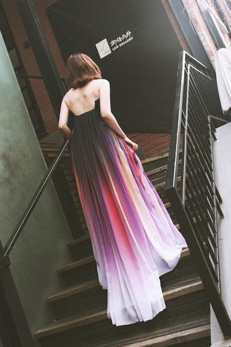 Rainbow Dresses,Colorful Dresses,Long Prom Dresses,Evening Dresses, Prom Dresses,Long Prom Dresses,Strapless Chiffon A Line Long Prom Dresses,Prom Dresses,Vestido De Fiesta,Prom Gown,Prom Party Dresses,Long Evening Dresses,Evening Gown