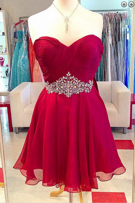 Elegant A-line Sweetheart Chiffon Short Red Homecoming/Prom Dress with Beading