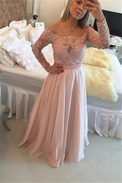 Sexy Long Sleeves A-line Prom Dresses,2017 Appliqued Chiffon Formal Dresses,Pink Prom Dresses