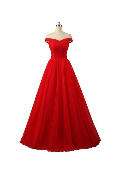 Sexy A-line Red Floor Length Tulle PromDresses Evening Dresses
