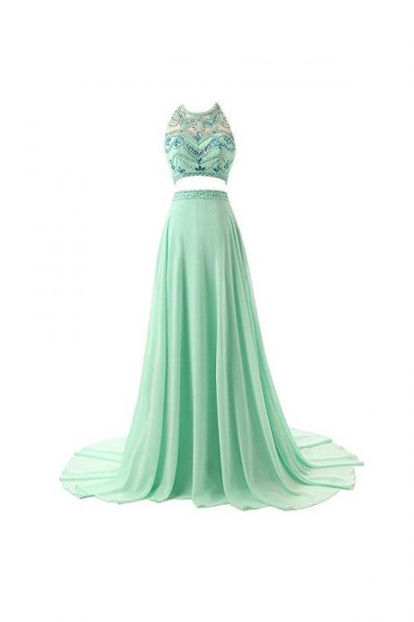 Pretty A-line Two Pieces Chiffon Prom Dresses Evening Dresses