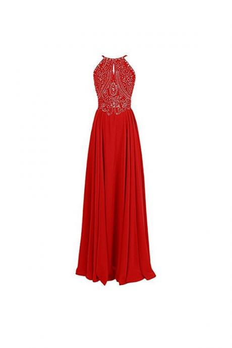 A-line Straps Formal Gowns Beading Prom Evening Dresses Backless Prom Dress