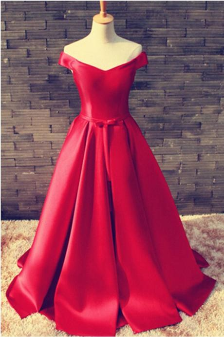Pretty Off Shoulder Floor Length Satin Red Prom/Evening Dress With Belt