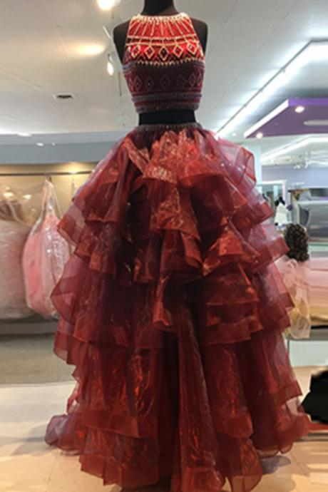 Red Prom Dresses,Beading Prom Dress,Two Pieces Prom Gowns,Handmade Evening Dresses,Modest Evening Dresses,Pretty Party Dresses