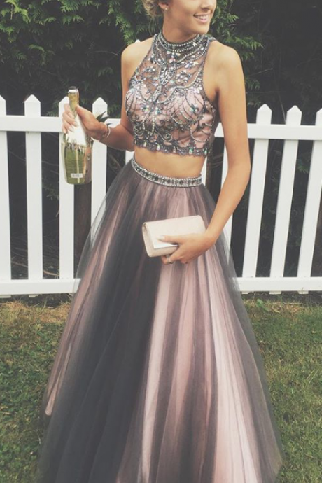 Two Pieces Prom Dresses,A-line Tulle Prom Gowns,Halter Beading Evening Dresses,Beautiful Party Dresses,Cute Dress