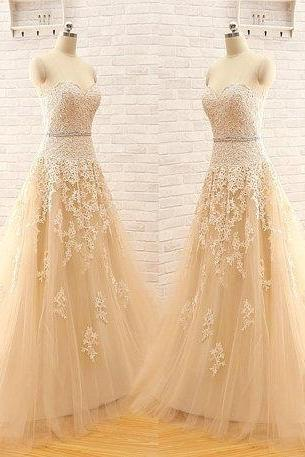 New Arrival A Line Custom Made Sweetheart Strapless Elegant Tulle Lace Light Champagne Wedding Dress Wedding Gown Bridal Dress Wedding Dresses