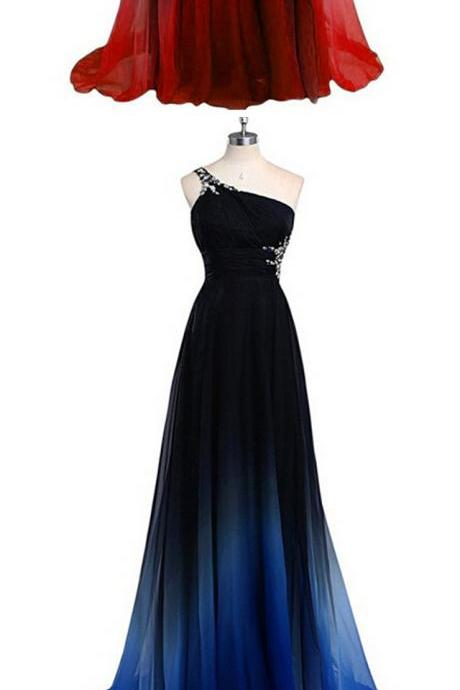 Women's Gradient Color Prom Dresses Chiffon Beaded Evening Gown Long Bridesmaid Dresses One Shoulder A-Line Evening Dresses