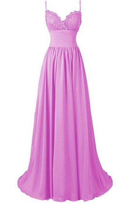 Sleeveless Lace Bodice A-line Long Chiffon Dress - Bridesmaid Dress, Evening Dress