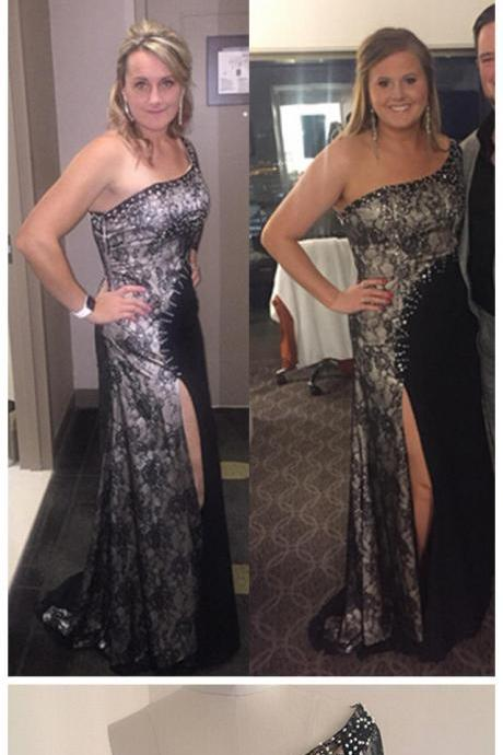 Women's One shoulder Side Slit Prom Dresses Beaded Crystals Lace Chiffon Evening Dress Wedding Party Dress