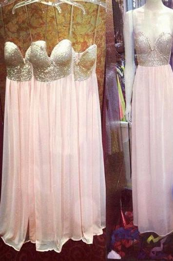 long bridesmaid dress,sweetheart bridesmaid dress ,Spaghetti Straps bridesmaid dress,chiffon bridesmaid dress