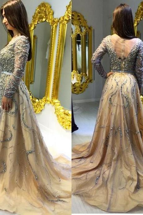 Beading A-Line Prom Dress,Long Prom Dresses,Charming Prom Dresses,Evening Dress, Prom Gowns, Formal Women Dress,prom dress