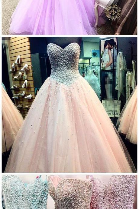 New Arrival Prom Dress,Modest Prom Dress,elegant pearl beaded sweetheart ball gown prom quinceanera dresses