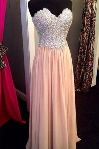 Blush Beadings Sweetheart Prom Dress,Pink Prom Dresses