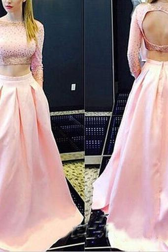 Two Piece Long Sleeve Pink Prom Dress