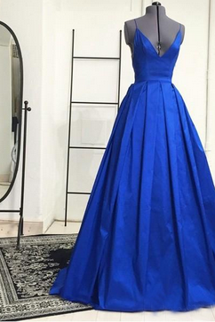 Royal Blue Prom Dress,Spaghetti Straps Prom Dresses,Evening Dress