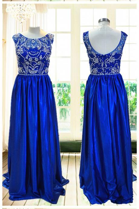 Straps Applique Prom Dress,Satin Long Prom Dresses,Evening Dress