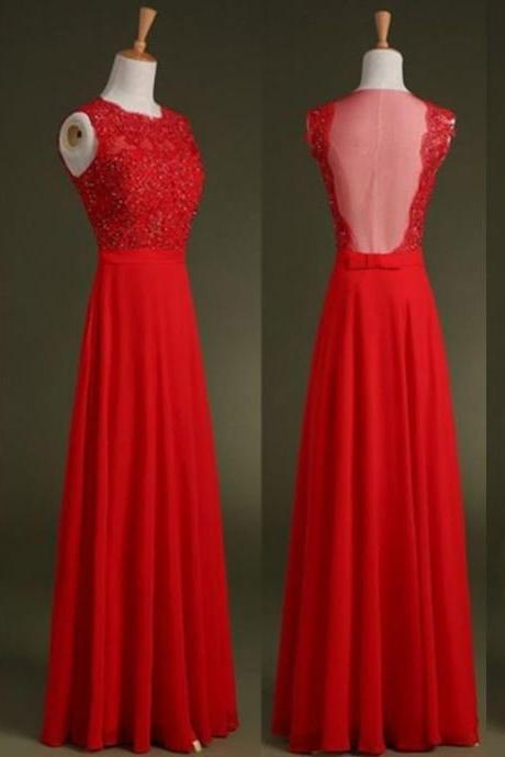 Red Chiffon Prom Dress,Applique Prom Dresses,Long Evening Dress
