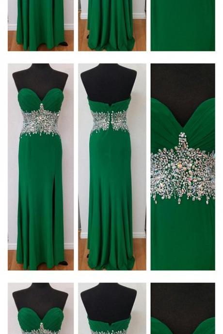 green prom dress, beading prom dress, unique prom dress, sexy prom dress, 2017 prom dress, new arrival prom dress, prom dress with bow, gorgeous prom dress, handmade prom dress, evening dress
