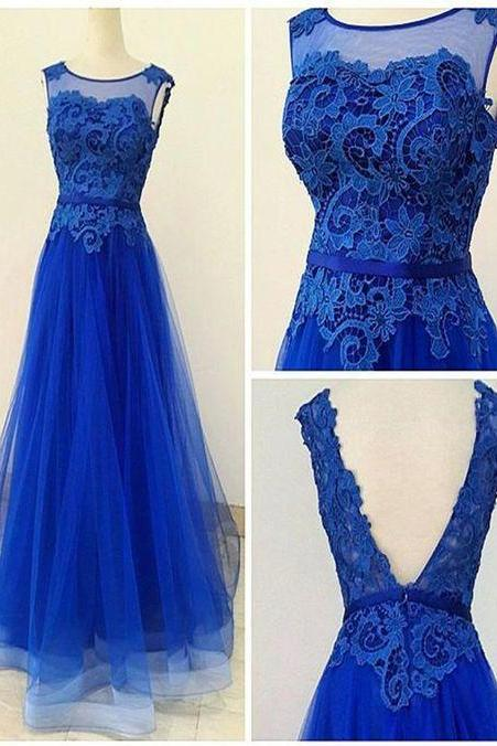 Charming Blue Prom Dresses, Blue Lace and Tulle Prom Dress, Elegant Formal Dress, Modest Prom Dress, A-line Evening Dress, Long Prom Dresses